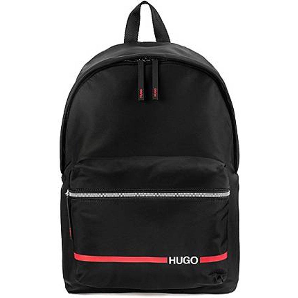 Sac à dos en gabardine de nylon avec logo et rayures contrastants - HUGO - Modalova