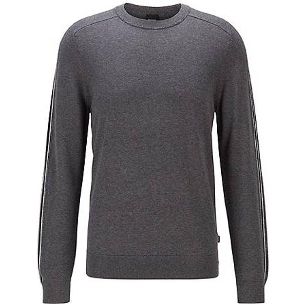 Pull en coton et laine vierge, avec finitions rayées - Boss - Modalova