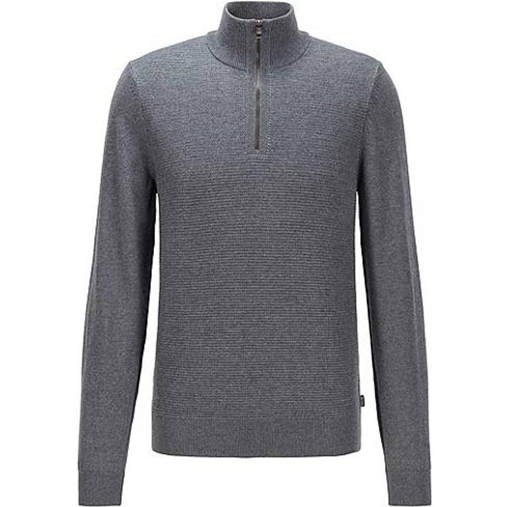 Pull en laine vierge et coton, avec encolure zippée - Boss - Modalova