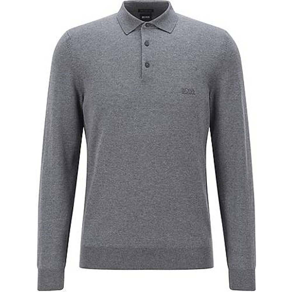 Pull en laine vierge à col polo et logo brodé - Boss - Modalova