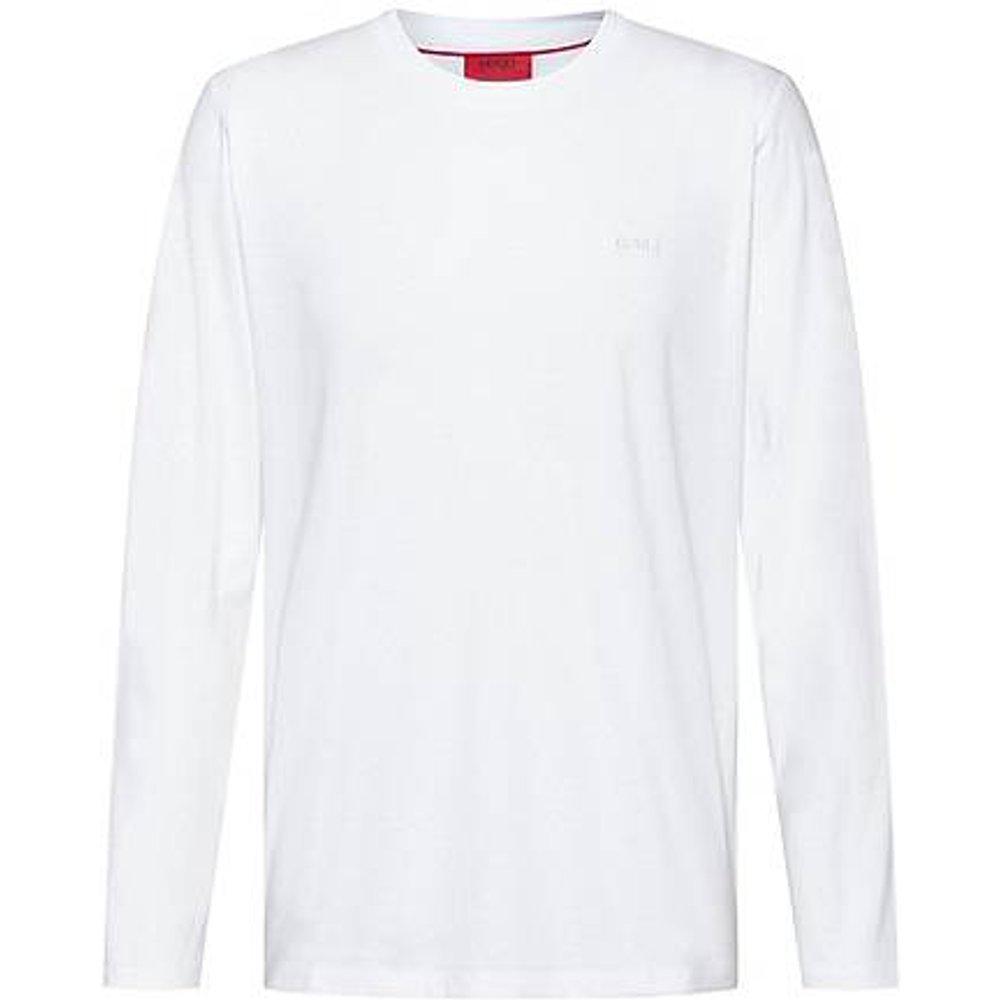 T-shirt à manches longues en coton avec logo inversé imprimé - HUGO - Modalova