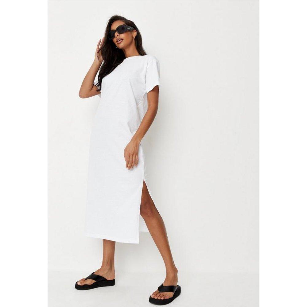 Robe t-shirt blanche mi-longue - Missguided - Modalova