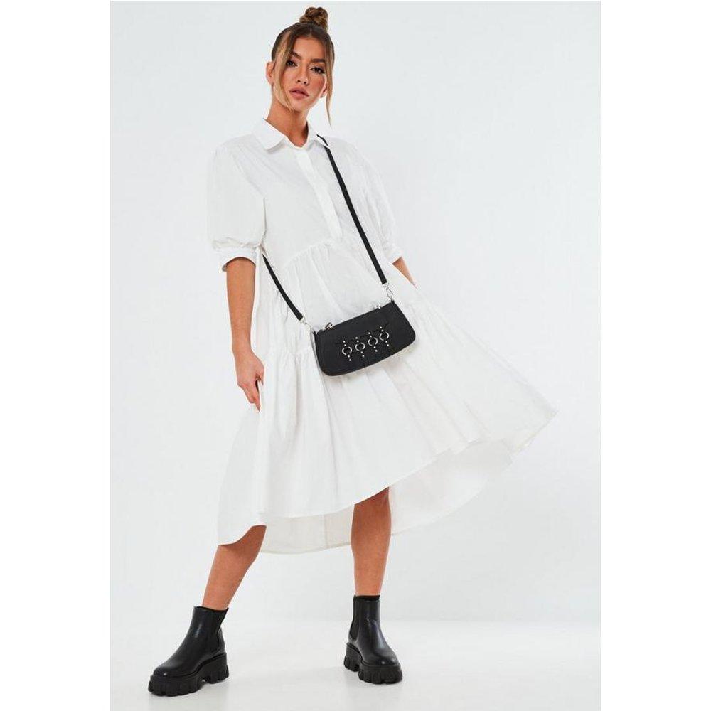 Robe chemise mi-longue à smocks blanche oversize - Missguided - Modalova