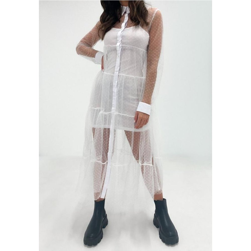 Robe chemise mi-longue blanche en tulle - Missguided - Modalova