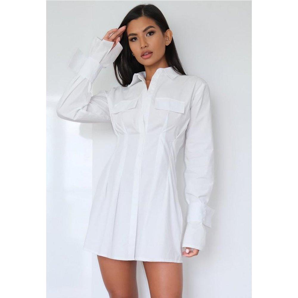 Robe chemise blanche plissée - Missguided - Modalova