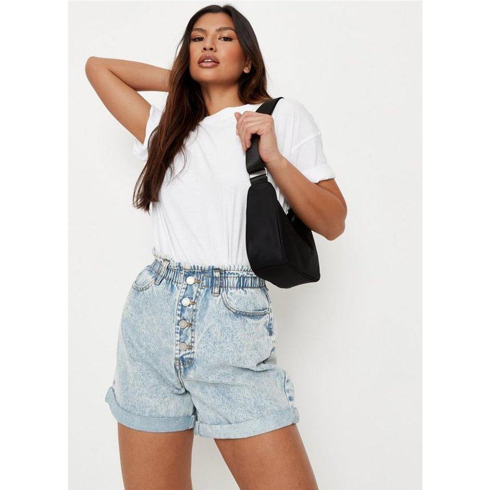 Short en jean plissé taille haute - Missguided - Modalova