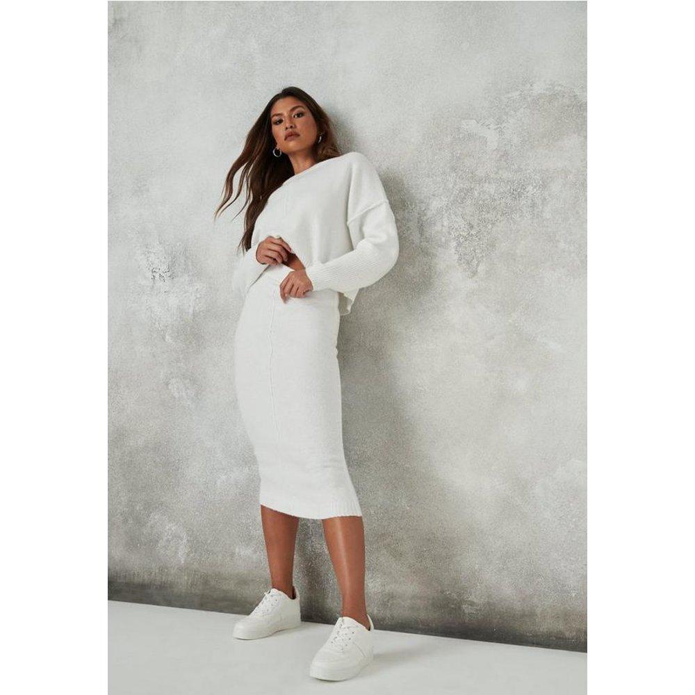 Jupe mi-longue recyclée blanche en tricot - Missguided - Modalova