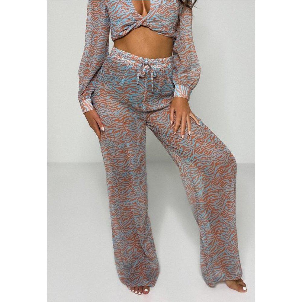 Pantalon de plage à imprimé zèbre évasé - Missguided - Modalova