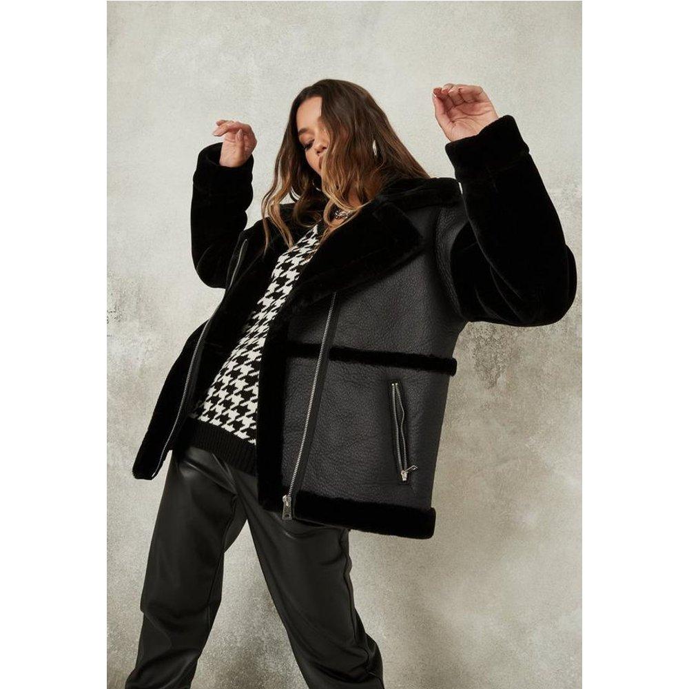 Veste aviateur avec imitation fourrure - Missguided - Modalova