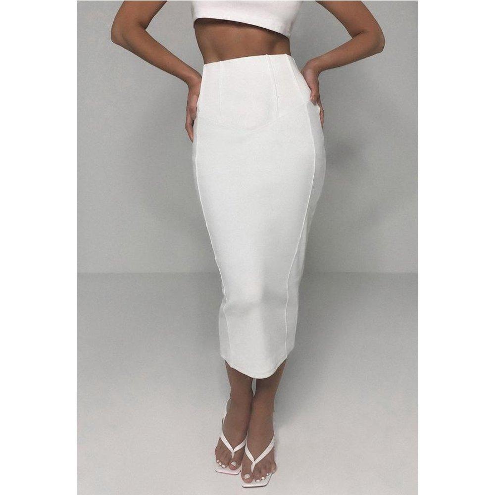 Jupe mi-longue blanche côtelée style corset - Missguided - Modalova