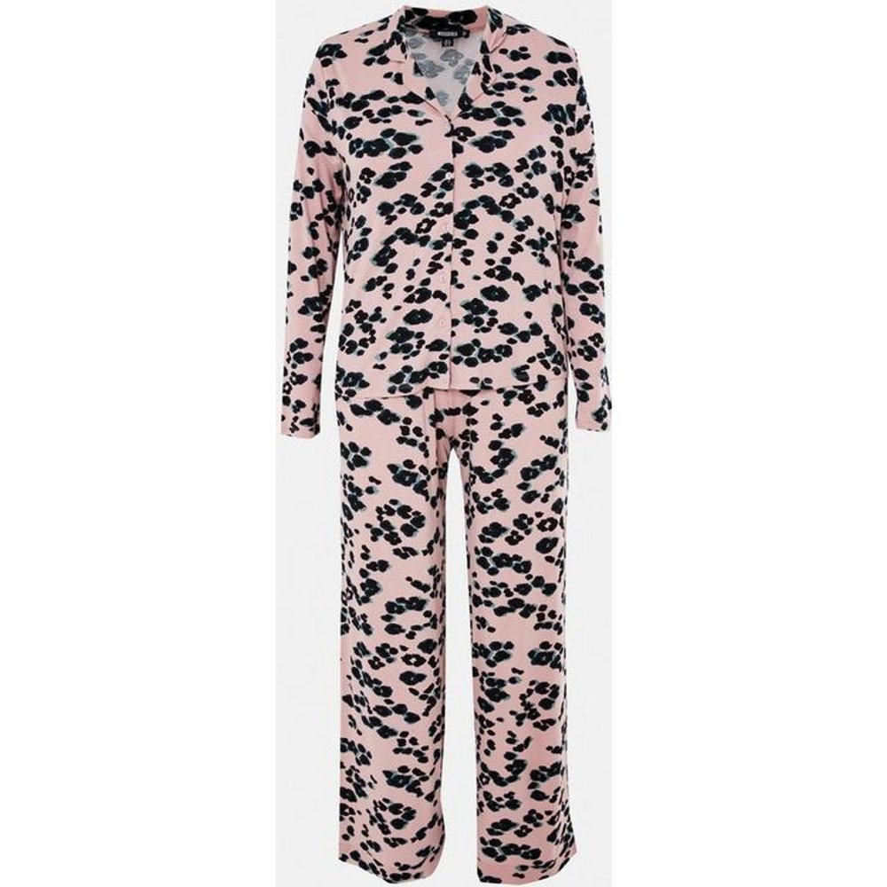 Ensemble pyjama à imprimé léopard chemise et pantalon grandes tailles - Missguided - Modalova