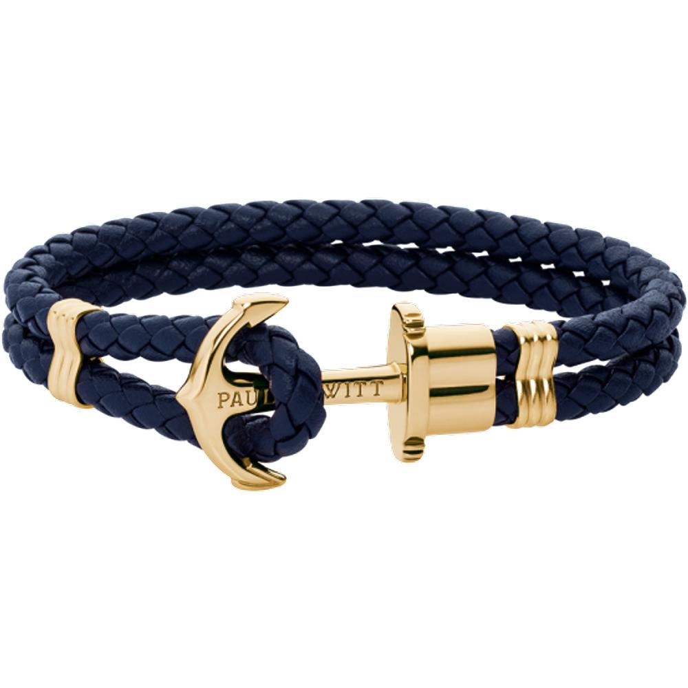Bracelet Ancre Phrep Or Cuir Marine - PAUL HEWITT - Modalova