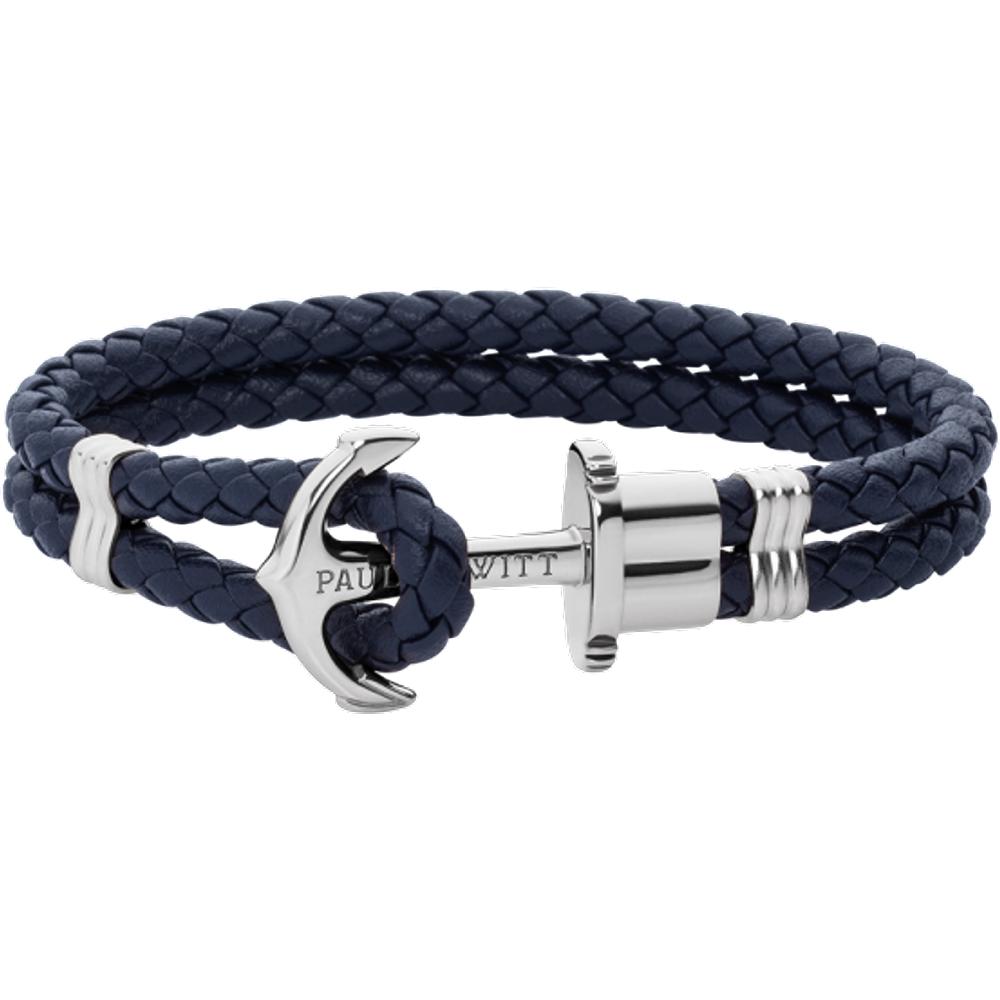 Bracelet Ancre Phrep Argenté Cuir Marine - PAUL HEWITT - Modalova