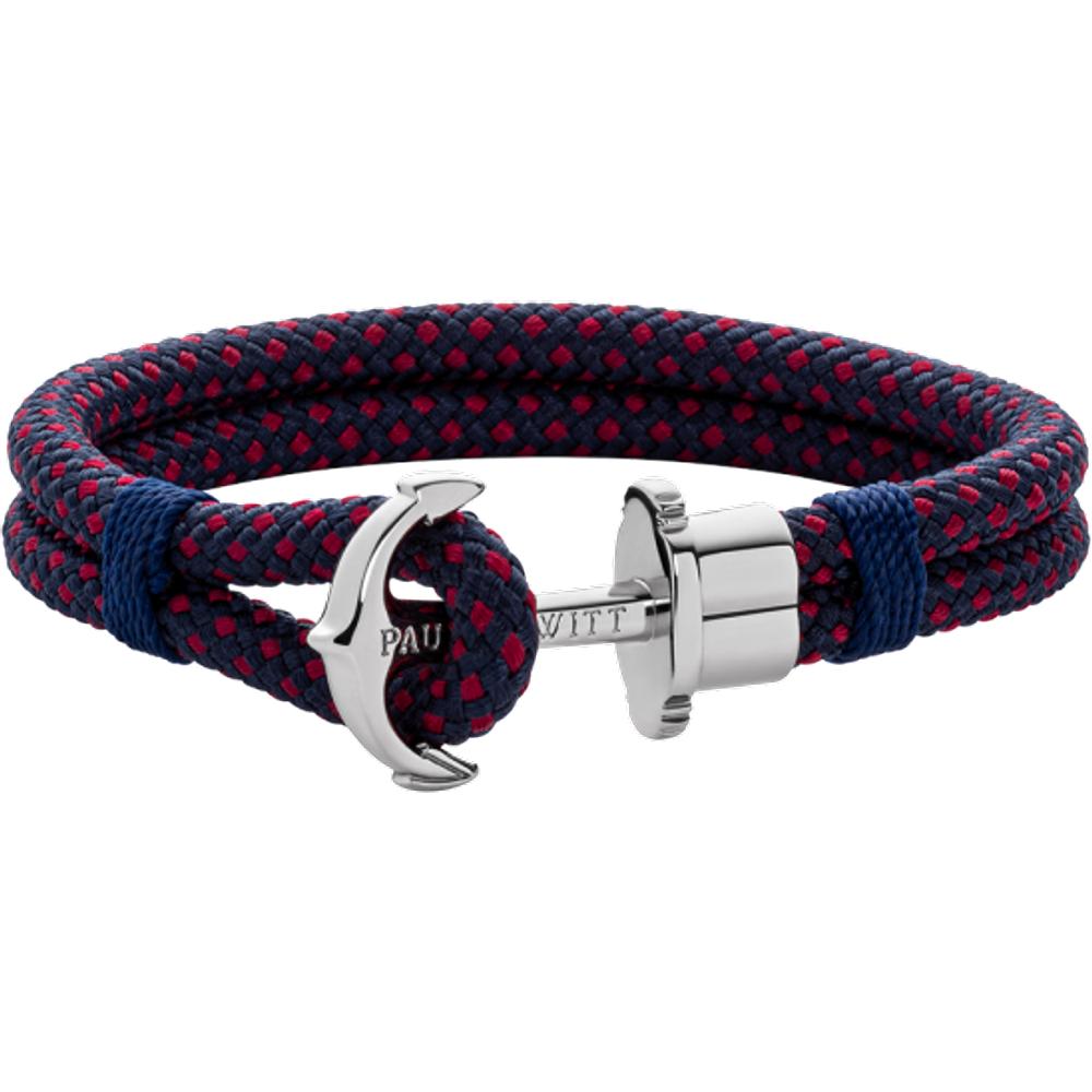 Bracelet Ancre Phrep Argenté Nylon Marine Rouge - PAUL HEWITT - Modalova