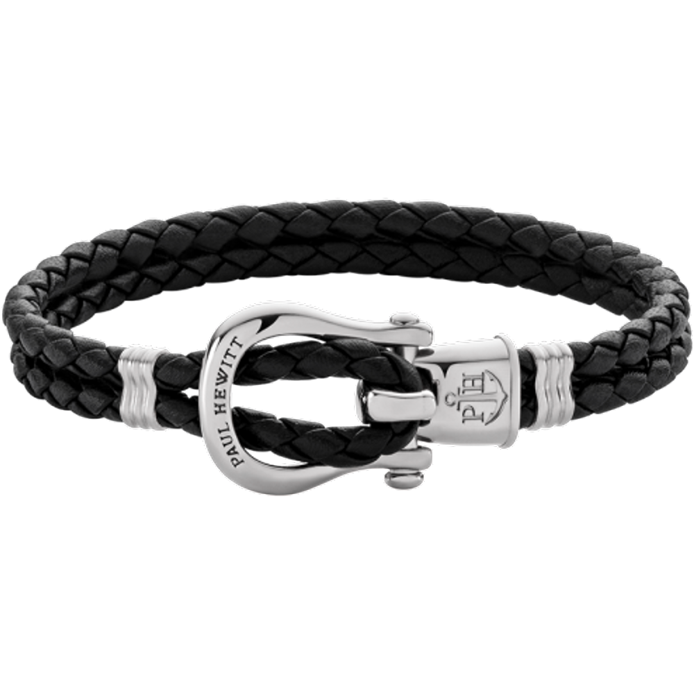 Bracelet Phinity Argenté Cuir Noir - PAUL HEWITT - Modalova