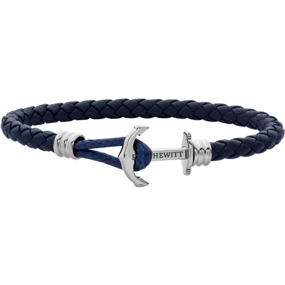Bracelet Ancre Phrep Lite Argenté Cuir Marine - PAUL HEWITT - Modalova