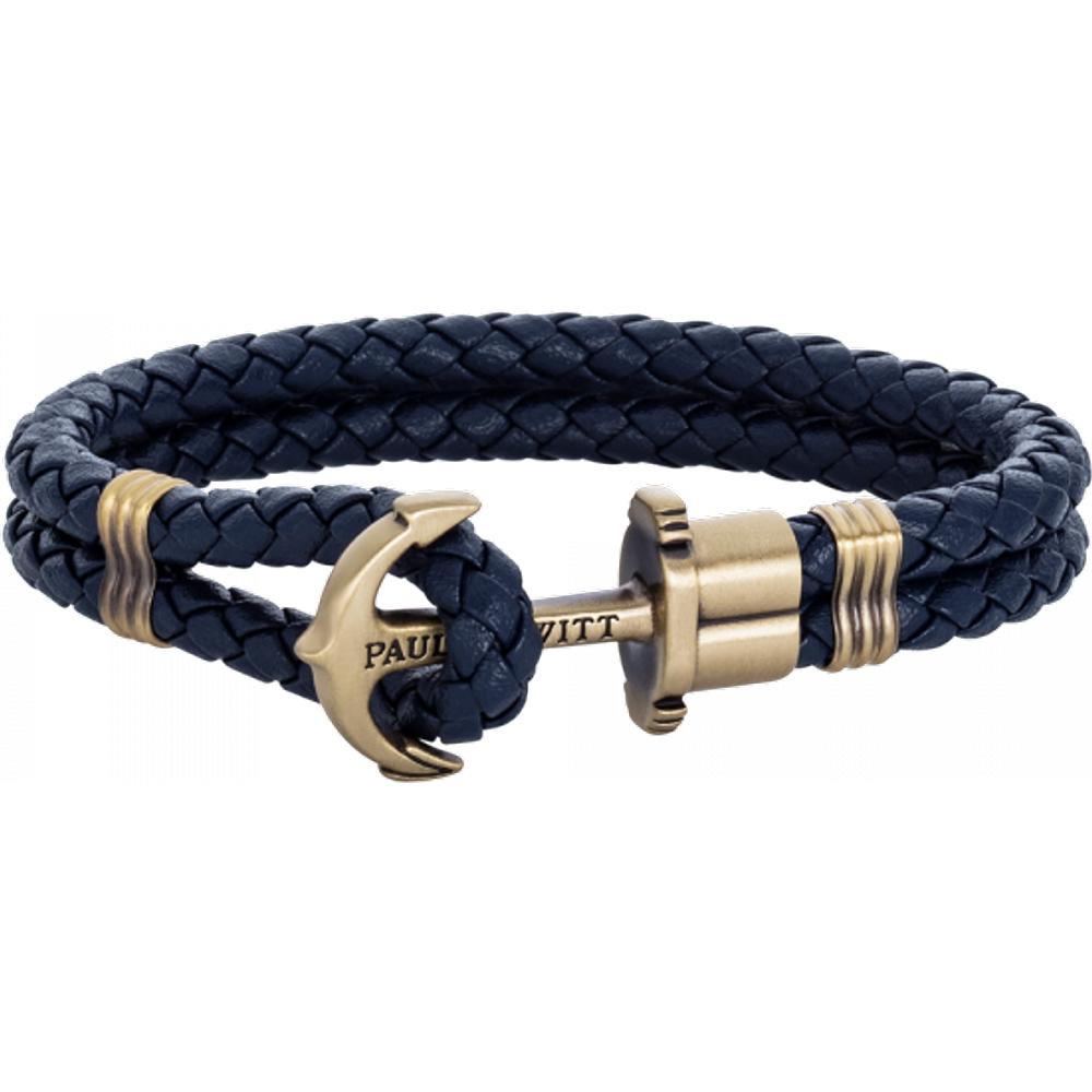 Bracelet Ancre Phrep Laiton Cuir Marine - PAUL HEWITT - Modalova