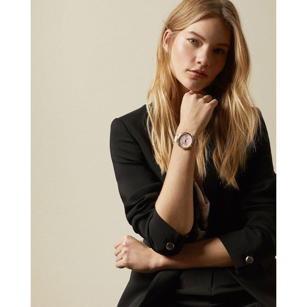 Montre Cadran Fleuri Et Bracelet En Cuir Gaufré - Ted Baker - Modalova
