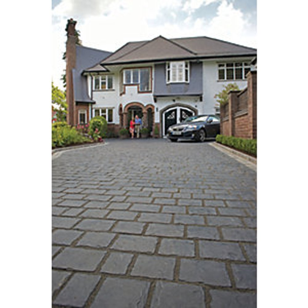 Marshalls Drivesys Split Stone Textured Basalt Mixed Size Block Paving Driveway Pack - 7.22 m2