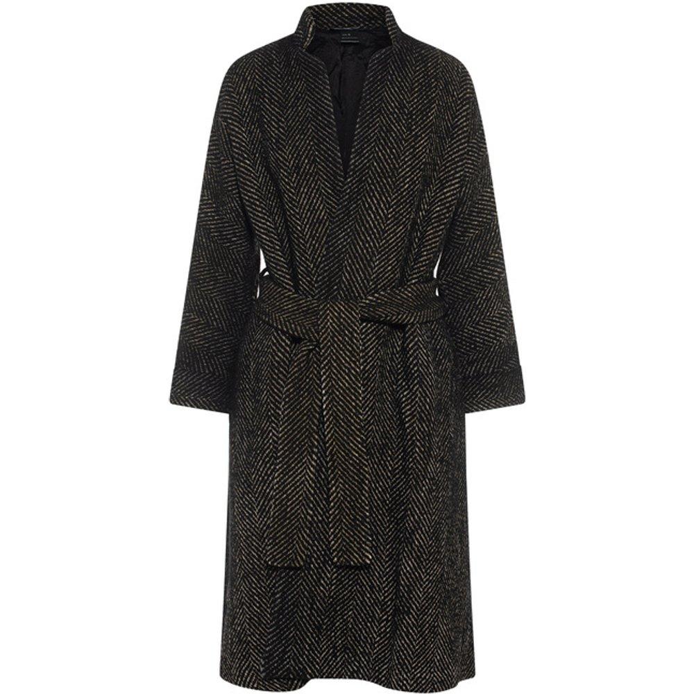 Artikel klicken und genauer betrachten! - Fischgrät-Mantel im Kimono-Stil mit Bindegürtel  | im Online Shop kaufen