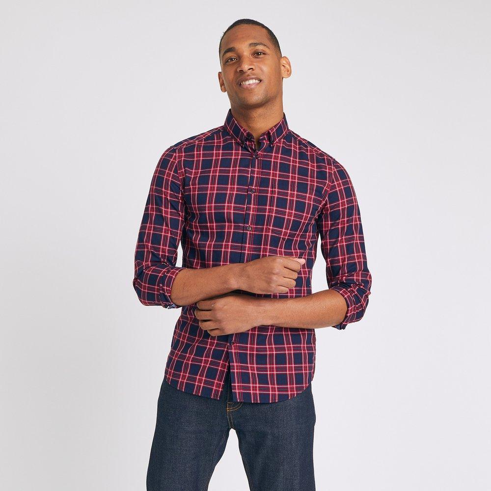 Chemise slim à carreaux pointe boutonnée - Brice - Modalova