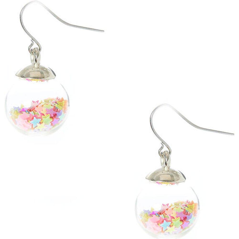 Boucles d'oreilles remplies de confettis d'étoiles mobiles fluo - Claire's - Modalova