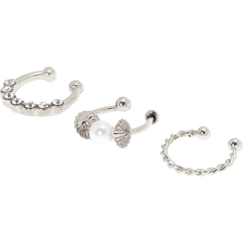 Faux anneaux de cartilage perle d'imitation et strass couleur - Lot de 3 - Claire's - Modalova