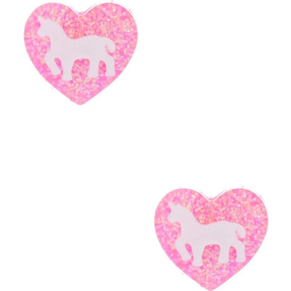 Clous d'oreille cœur rose à paillettes et licorne - Claire's - Modalova