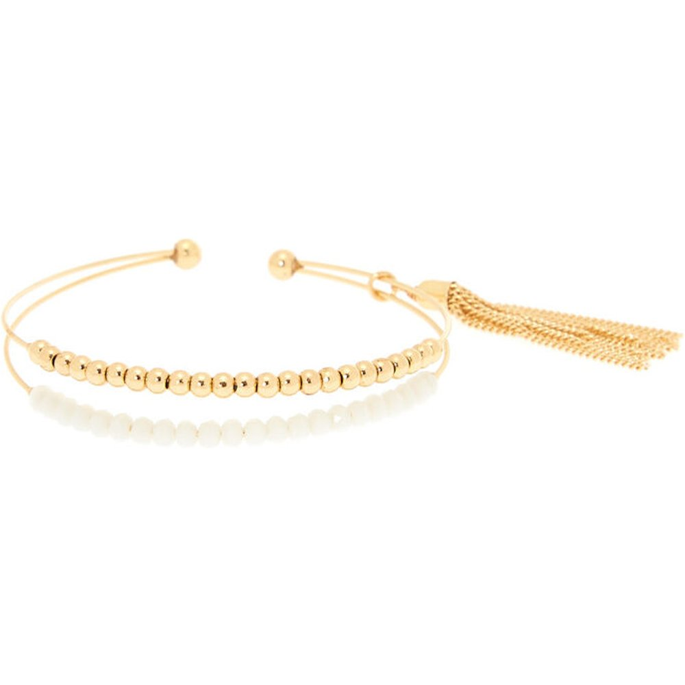 Bracelet manchette à perle d'imitation blanches et couleur dorées - Claire's - Modalova