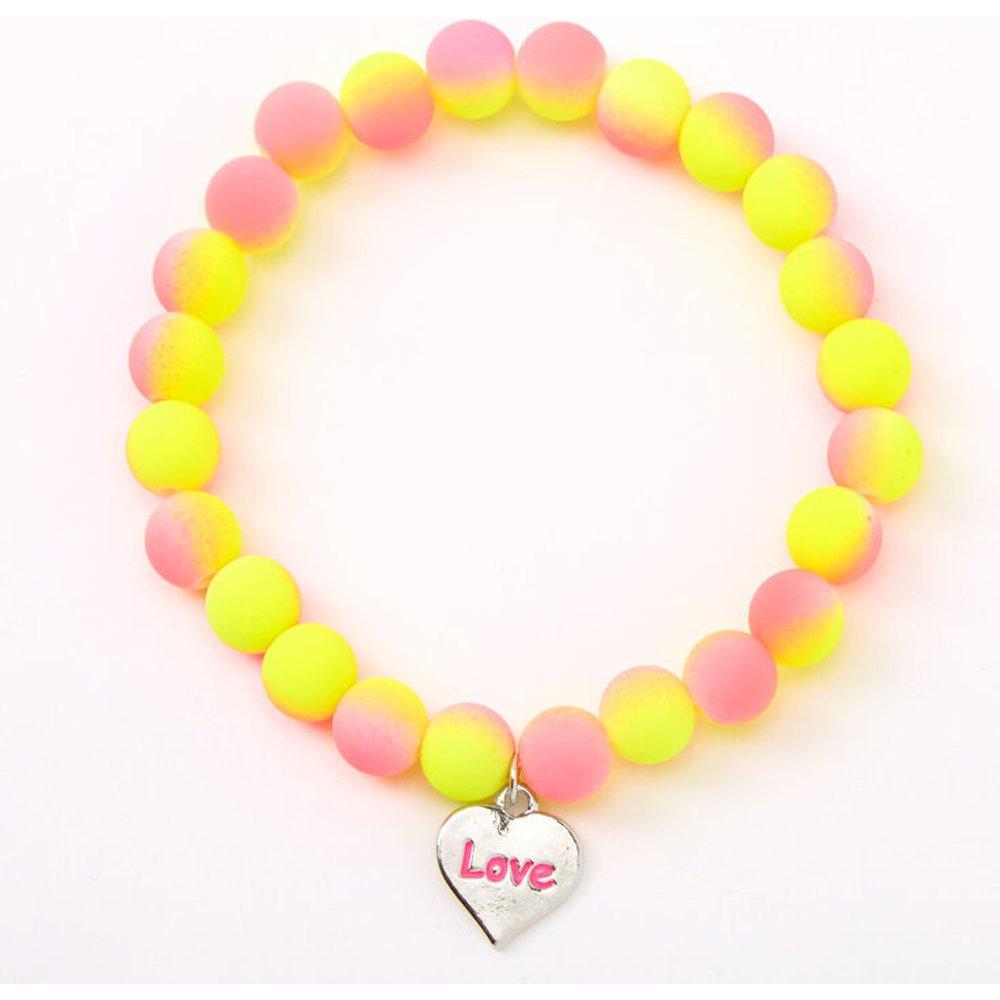 Bracelet élastique perlé mat « Love » effet dégradé - Claire's - Modalova