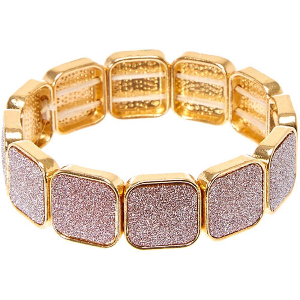 Bracelet élastique couleur doré brillant à caissons - Claire's - Modalova
