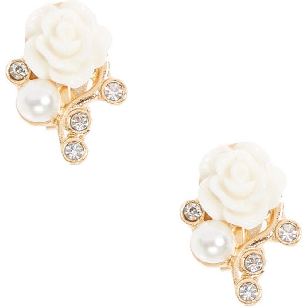Boucles d'oreilles à clips couleur dorées à fleurs blanches - Claire's - Modalova