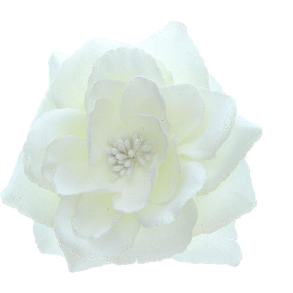 Grande barrette à cheveux en forme de rose blanche pailletée - Claire's - Modalova