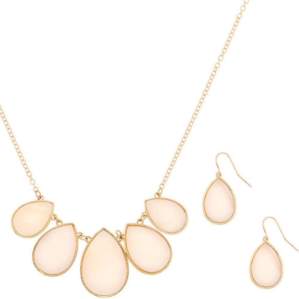 Parure de bijoux en gouttes blanches et écaille couleur doré, lot de 2 articles - Claire's - Modalova