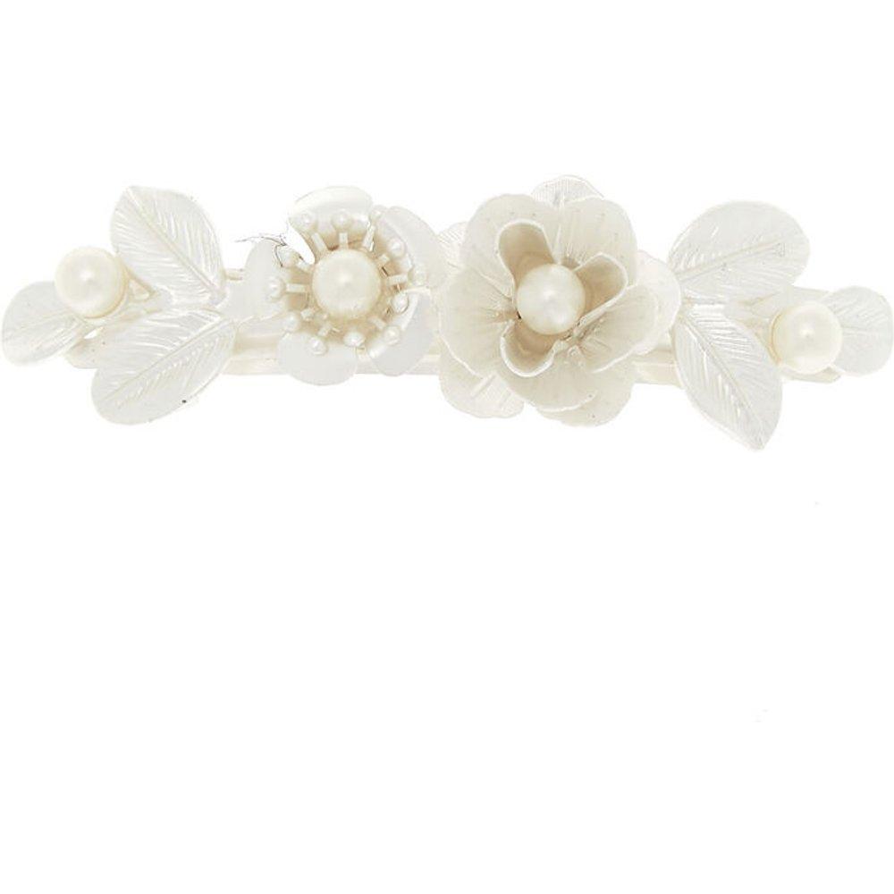 Barrette ivoire avec roses métalliques effet nacré - Claire's - Modalova