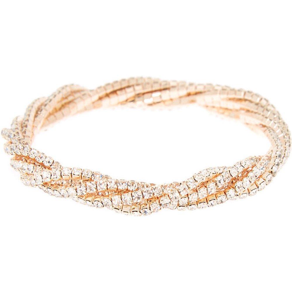 Bracelet élastique torsadé avec strass couleur doré - Claire's - Modalova