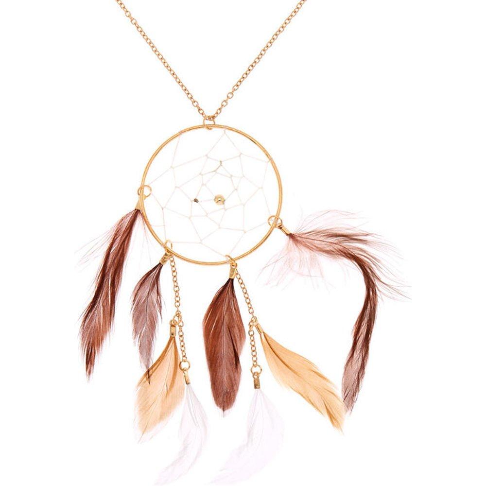 Collier long à pendentif attrape-rêves marron couleur doré - Claire's - Modalova