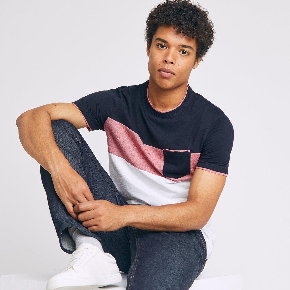 Tee shirt recyclé colorblock empiècement poche - Jules - Modalova