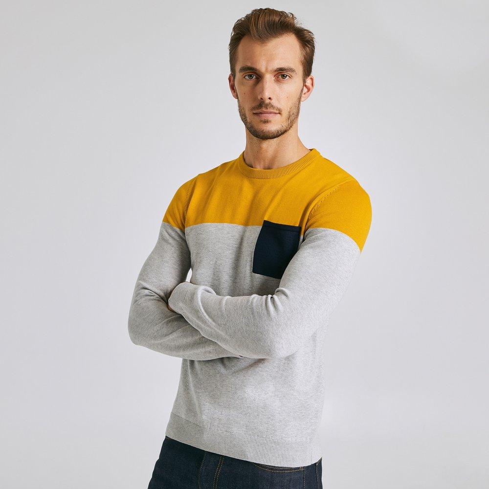 Pull jersey colorblock poche - coton issu de l'agr - Jules - Modalova