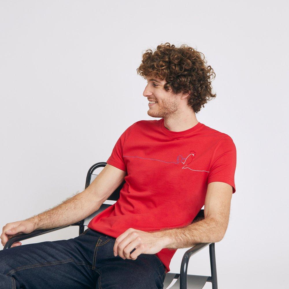 Tee shirt brodé coq Rouge Homme - Jules - Modalova