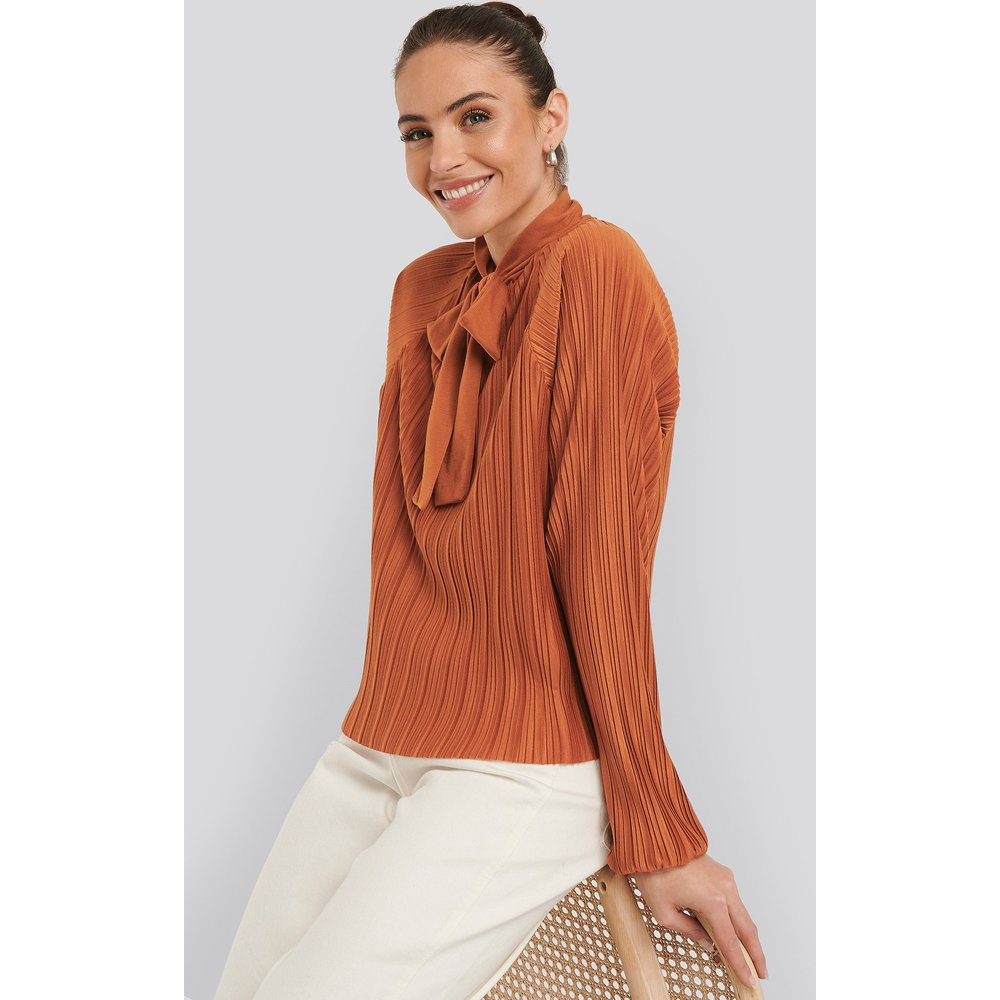 Jersey Plisse Boho Blouse - Orange - NA-KD - Modalova