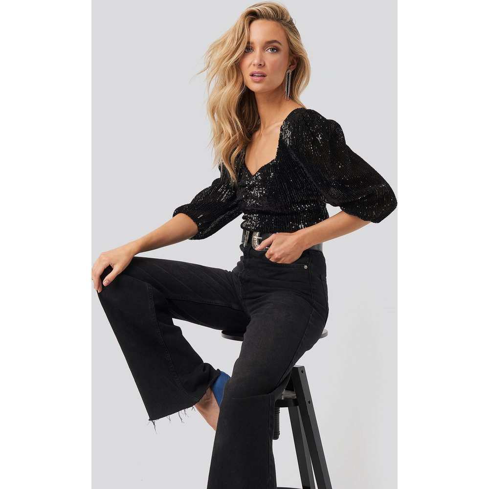 Puff Shoulder Sequin Top - Black - NA-KD Party - Modalova