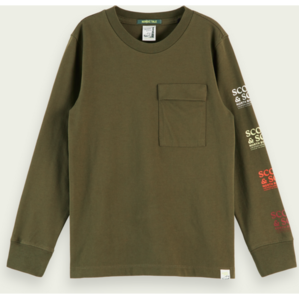 T-shirt à manches longues et poche en coton bio - Scotch & Soda - Modalova