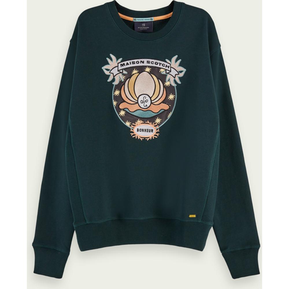 Sweat-shirt à manches longues en coton avec graphisme - Scotch & Soda - Modalova