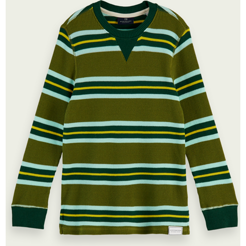 T-shirt en tricot gaufré à manches longues 100% coton - Scotch & Soda - Modalova