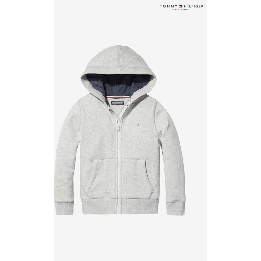 Boys Tommy Hilfiger Grey Basic Full Zip Hoody -  Grey