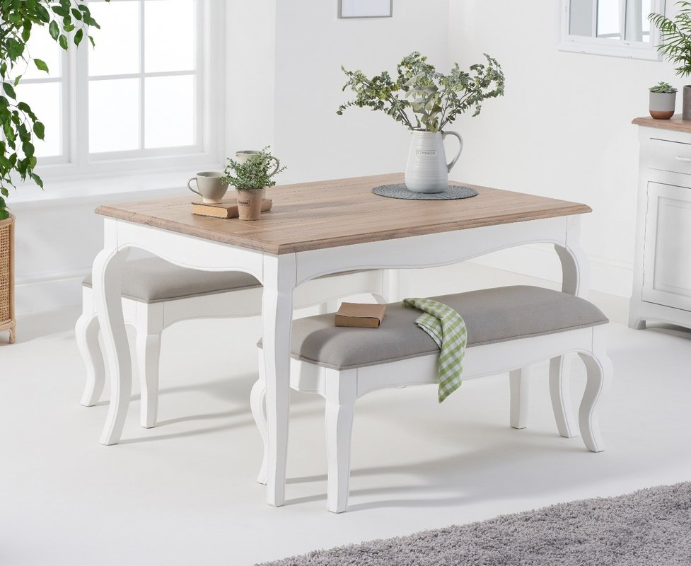 Parisian 130cm Shabby Chic Table With Benches With Grey Fabric Seats 689 00 Save Up To 51 Off