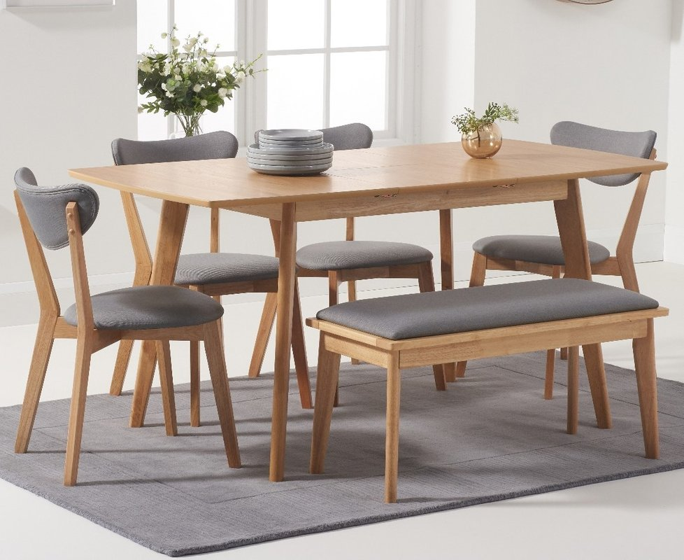 Sacha Extending Dining Table With Sacha Cushion Seat Chairs And Sacha Benches Oak And Grey 2 Chairs 559 00 Save Up To 39 Off