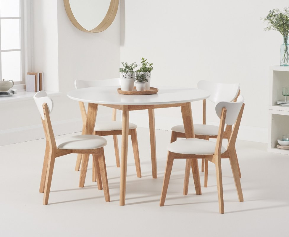 Photo of Rebekah White And Oak 110cm Round Dining Table With Rebekah Faux Leather Dining Chairs - Oak And White- 2 Chairs