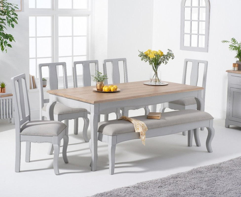 Parisian 175cm Grey Shabby Chic Table With Chairs With Grey Fabric Seats And Bench Grey 2 Chairs 979 00 Save Up To 22 Off